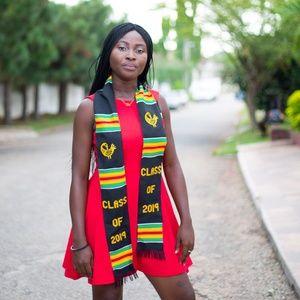 ExploreAfrica.com Accessories - African graduation Kente Stole: Sankofa